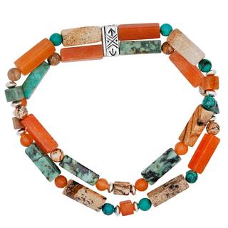 Multi-Color Genuine Stone Bead Stretch Bracelet - Brown
