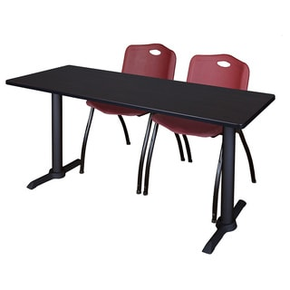 Cain Burgundy Melamine Laminate 60-inch x 24-inch Training Table and 2 M Stacking Chairs