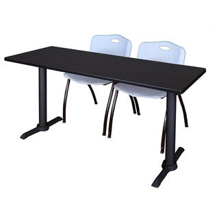 Cain Grey/Black Wood/Laminate/Metal 60-inch x 24-inch Training Table with 2 Stackable Chairs