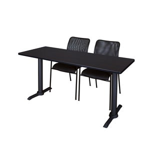 Cain Black 60-inch x 24-inch Training Table and 2 Mario Stack Chairs