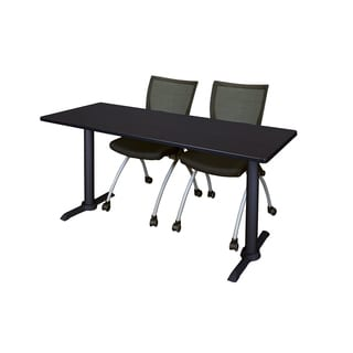 Cain Black Wood/Laminate/Metal 66-inch x 24-inch Training Table wiht 2 Apprentice Chairs