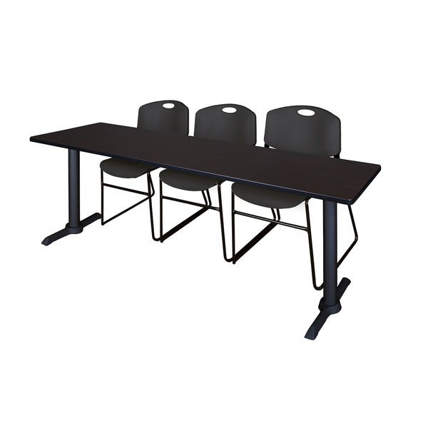 Regency Seating Cain Black 84-inch Wide x 24-inch Deep Training Table and 3 Zeng Stack Chairs