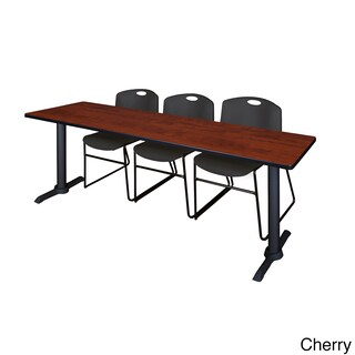 Regency Seating Cain Black 84-inch Wide x 24-inch Deep Training Table and 3 Zeng Stack Chairs (More options available)