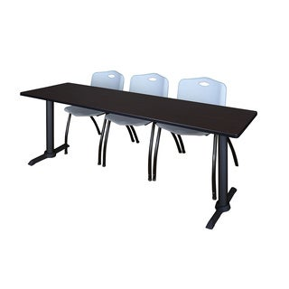 Regency Seating Cain 84-inch Training Table and 3 Grey Stack Chairs