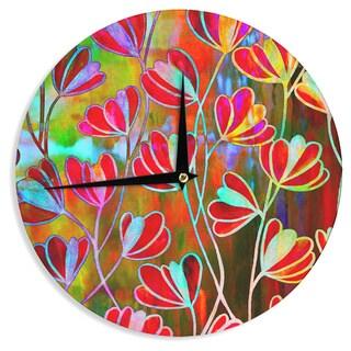 KESS InHouse Ebi Emporium 'Efflorescence - Technicolor' Red Multicolor Wall Clock