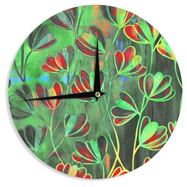 KESS InHouse Ebi Emporium 'Efflorescence - Red Green' Lime Crimson Wall Clock