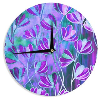 KESS InHouse Ebi Emporium 'Efflorescence - Lavender Blue' Teal Purple Wall Clock