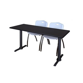 Regency Seating Cain Black 66-inch Training Table With 2 Grey 'M' Stack Chairs