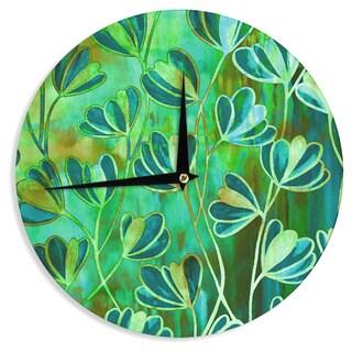 KESS InHouse Ebi Emporium 'Effloresence - Blue Green' Teal Green Wall Clock