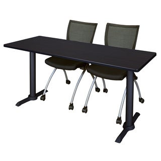 Regency Seating Cain Black Wood Laminate 72-inch x 24-inch Training Table and 2 Apprentice Chairs