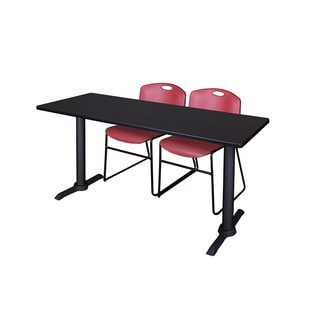Cain Burgundy 72-inch x 24-inch Training Table and 2 Zeng Stack Chairs