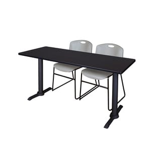 Cain Grey 72-inch x 24-inch Training Table With 2 Zeng Stack Chairs