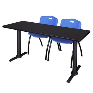 Regency Seating Cain Black 72-inch Training Table With 2 Blue 'M' Stack Chairs