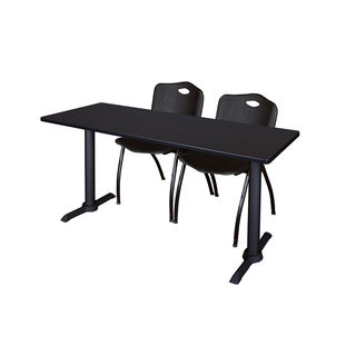Regency Seating Black Laminate 72 x 24 Training Table with 2 Stackable Chairs