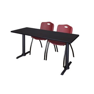 Cain Burgundy and Black Wood/Laminate/Metal 72-inch x 24-inch Training Table with 2 Stackable Chairs