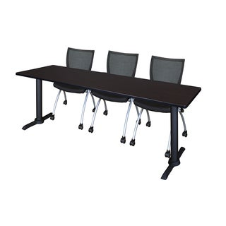 Regency Seating Cain 84-inch x 24-inch Training Table & 3 Apprentice Black Chairs