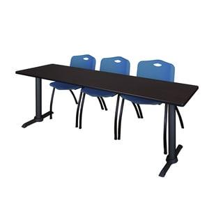 Cain Blue Wood/Plastic/Metal 84-inch x 24-inch Training Table with Stackable Chairs