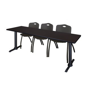 Cain Black 84-inch x 24-inch Training Table With 3 Stackable Chairs