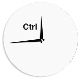 KESS InHouse Jackie Rose 'Ctrl' Black White Wall Clock