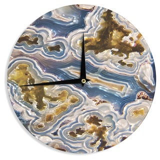 KESS InHouse KESS Original 'Gold And Blue Agate' Brown Nature Wall Clock