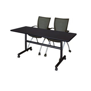 Kobe Black Melamine Laminate 60-inch Flip Top Mobile Training Table and 2 Apprentice Chairs