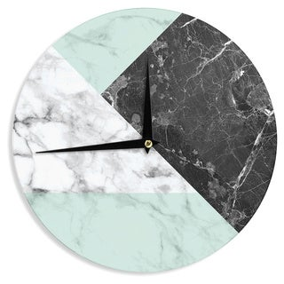 KESS InHouse KESS Original 'Geo Marble and Mint' Black Art Deco Wall Clock