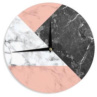 KESS InHouse KESS Original 'Geo Marble and Coral' Black Art Deco Wall Clock