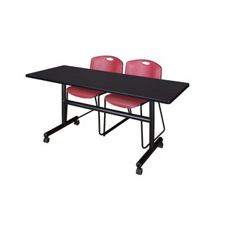 Regency Seating Kobe Colleciton 60-inch Flip-top Mobile Training Table & 2 Burgundy Zeng Stack Chairs