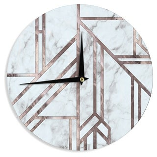 KESS InHouse KESS Original 'Dark Marble Mosaic' Digital Geometric Wall Clock