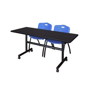 Regency Seating Kobe 60-inch Flip-top Mobile Training Table and 2 'M' Blue Stack Chairs