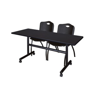 Regency Seating Kobe Collection 60-inch Flip-top Mobile Training Table & 2 Black 'M' Stack Chairs