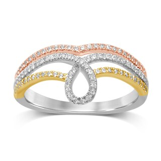 Unending Love 10K Tri-Color Gold 1/4ct TDW Diamond Ribbon Ring