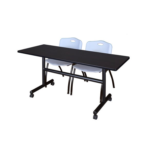 Regency Seating Kobe Collection 60-inch Flip-top Mobile Training Table & 2 Grey 'M' Stack Chairs