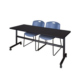 Kobe Black 72-inch Flip-top Mobile Training Table with 2 Blue Zeng Stacking Chairs