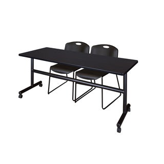 Regency Seating Kobe Collection 72-inch Flip-top Mobile Training Table & 2 Black Zeng Stack Chairs