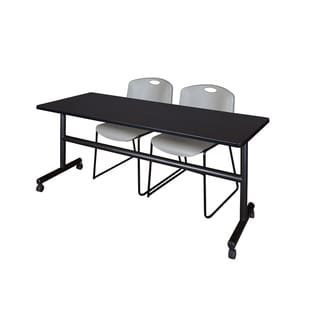 Regency Seating Kobe Grey 72-inch Wide Flip-top Mobile Training Table and 2 Zeng Stack Chairs