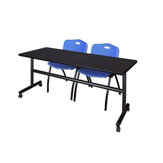 Regency Seating Kobe 72-inch Wide Flip-top Mobile Training Table and 2 'M' Blue Stack Chairs
