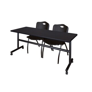 Kobe Black Wood/Laminate/Metal 72-inch Flip Top Mobile Training Table with Stackable Chairs
