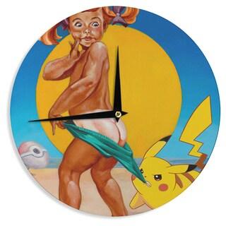 KESS InHouse Jared Yamahata 'Peekachu' Yellow Pop Art Wall Clock