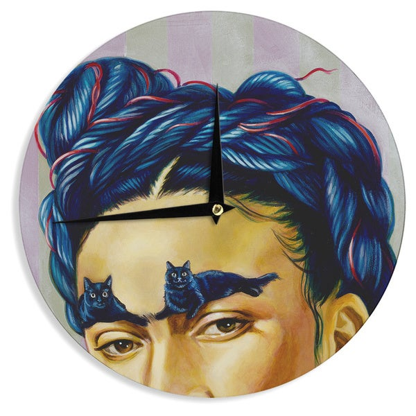 KESS InHouse Jared Yamahata 'Frida Katlo' Blue People Wall Clock