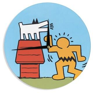 KESS InHouse Jared Yamahata 'Haring-Schulz' Illustration Pop Art Wall Clock