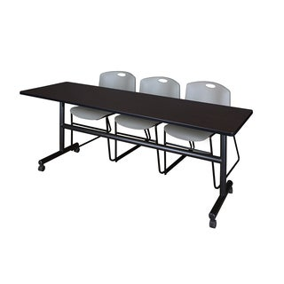 Kobe Grey/Black Metal/Laminate/Wood 84-inch Flip Top Mobile Training Table with 2 Zeng Stackable Chairs