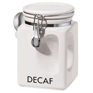 Oggi Corporation White EZ Grip Decaf Coffee Canister