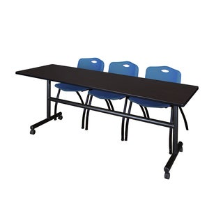 Kobe 84-inch Flip Top Mobile Training Table and 2 Blue Stackable Chairs