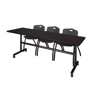 Kobe Black 84-inch Flip-top Mobile Training Table With 2 Stackable Chairs