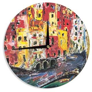 KESS InHouse Josh Serafin 'Cinque Terre' Red Yellow Wall Clock