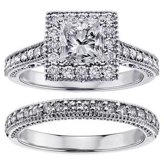 18k or 14k Gold 1 2/5ct TDW Square Halo Princess-cut Diamond Engagement Bridal-set (G-H, SI1-SI2)