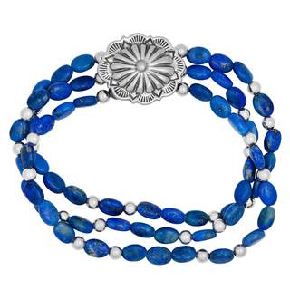Silver and Denim Lapis Stretch Bracelet