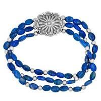 Silver and Denim Lapis Stretch Bracelet - Blue
