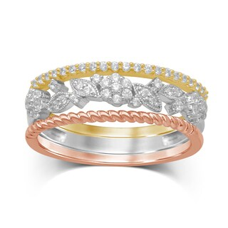 Unending Love 10-Karat Tri-Color Gold Diamond Stackable Ring